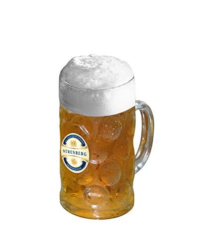 Nürenberg 34 oz (1L) Big Beer Mug, Beer Mugs For Freezer,Glass Beer Mugs With Handle,Heavy Glass Beer Stein Mugs, German Beer Mugs For Men, Freezable Beer Mug, Beer Gifts For Father's Day
