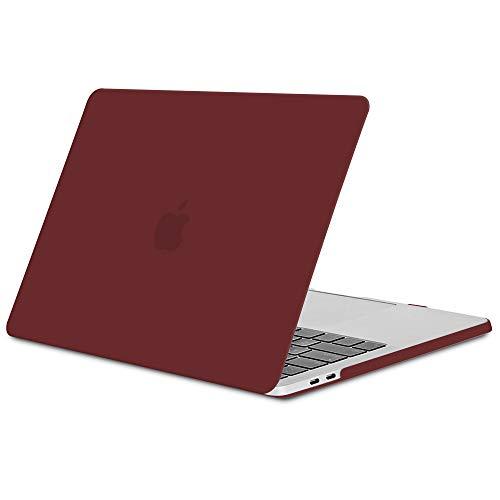 TECOOL Funda MacBook Pro 15 2016/2017/ 2018/2019, Slim Cubierta de Plástico Dura Case Carcasa para Apple MacBook Pro 15,4 con Touch Bar y Touch ID (Modelo: A1707 / A1990) -Vino Rojo