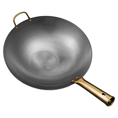 Multifunción Trainador de hierro hechas a mano tradicional PAN sin recubrimiento Pan de gas y cocina de inducción Cocina General Cocina de cocina (Color : Ear Frying Pan 38cm)