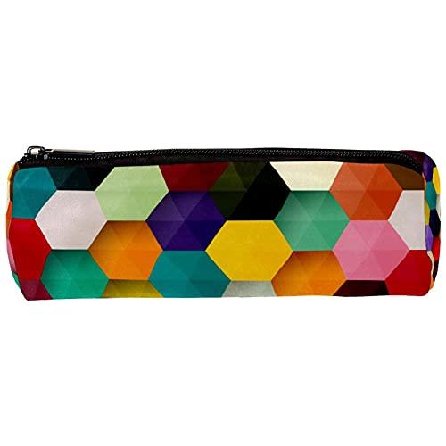Colorido Hexágono Honeycomb Pencil Bag Estuche Estacionario Estuche Estuche Organizador de Escritorio Bolsa de Cosméticos para la Escuela Oficina