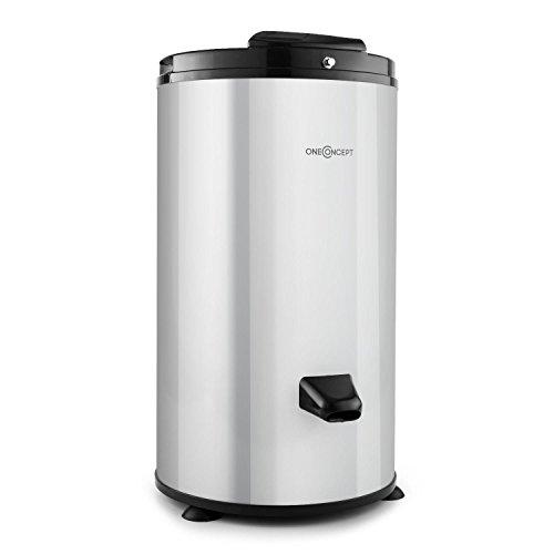 oneConcept WS-3500 - centrifuge, camping centrifuge, wasdroger, max.6 kg wasgoed, 2800 tpm, roestvrijstalen trommel, veiligheidsslot, 2-3 minuten droogtijd, zilver