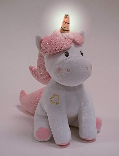 Jemini 023755 Licorne Peluche +/-24 cm Musicale et lumineuse Luminoso, Color Blanco Rosa