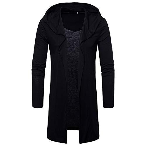 Mens Long Sleeve Draped Lightweight Open Front Longline Hooded Cardigan Pullover Outwear Black