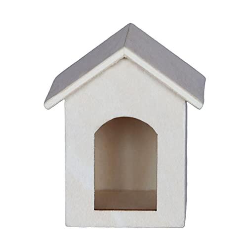 Mini perrera de alta simulación juego de simulación 1/12 escala mini madera cachorro casa decoración para micro paisaje - A