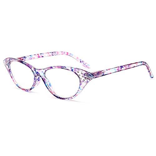 D&XQX Gafas de Lectura con Estampado de Flores de Ojo de Gato Gafas de Lectura Elegantes y ultraligeras para Mujer Gafas de Lectura antifatiga HD portátiles,B,+1.5