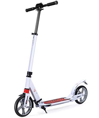 MOTORAUX 200MM Wheel Scooter, Klappbarer City-Roller Höhenverstellbar für Erwachsene und Kinder Weiß