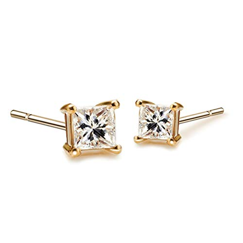 KnSam Boucle d'Oreille Femme Fine Diamant 0.08ct, Or 18 Carats Élégance Cadeau Noël
