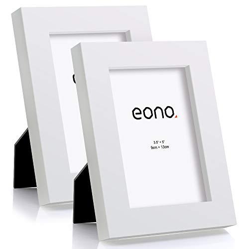 Eono by Amazon - Juego de 2 Marcos de Fotos de Madera Maciza y Cristal de Alta Definición para Pared o Sobremesa 9x13 cm Blanco