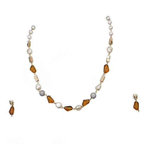 SURYAGEMS Bollywood Look Necklace Chain with Earrings Yellow Onyx, Pearl Haar Chain Mala Jewellery Set for Mother, Sister and Wife