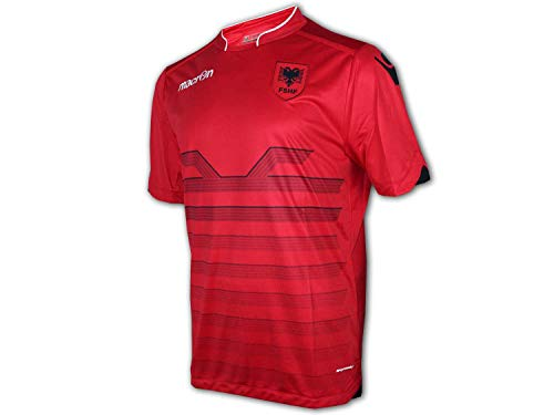 Macron Albanien Heim Trikot M16 rot FSHF Home Shirt EM 2016 Fan Jersey Albania, Größe:L