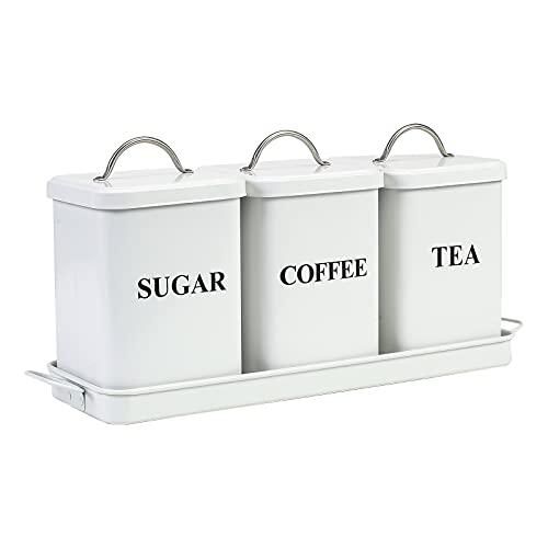Juego de 3 recipientes de metal con tapas, café, té, azúcar con...