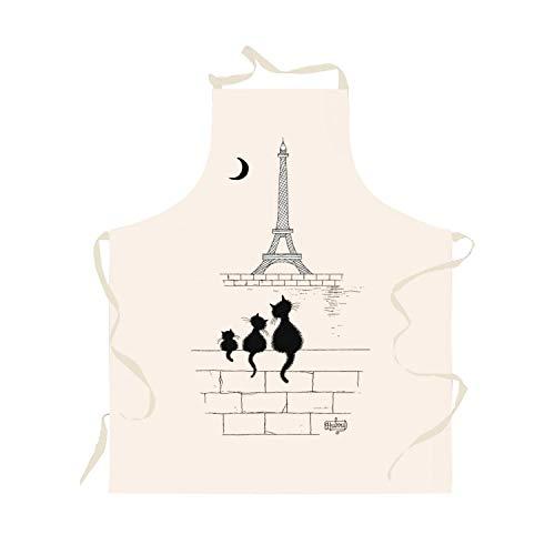 Winkler - Tablier de cuisine Chats Tour Eiffel – Blouse adulte en tissu lavable 100% coton – Fabriqué en France – Dessin humoristique