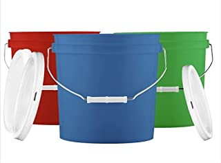 House Naturals 2 Gallon Buckets pails with Lids - Food Grade - BPA Free Plastic containers -( Pack of 3 ) Made in USA