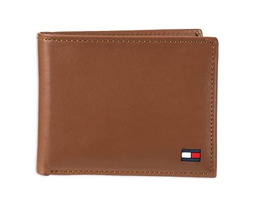 Carteira masculina Tommy Hilfiger de couro – dobra dupla fina com 6 divisórias para cartão de crédito e janela de identidade removível, British Tan, tamanho único