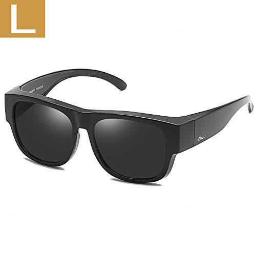 DUCO Unisex polarisierte Sonnenbrillen Überziehbrille Fit-Over Brille Korrekturbrille RX Brille 8956 (Schwarz 8958)