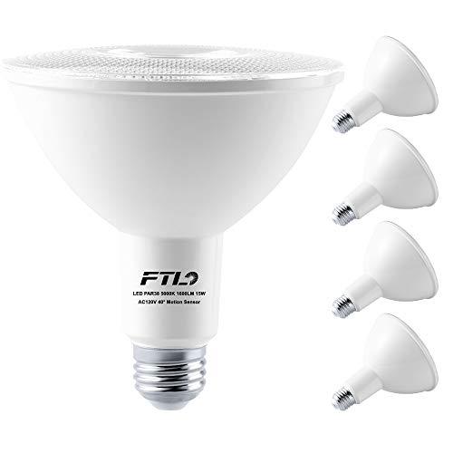FTL Motion Sensor Flood Light Bulb Outdoor PAR38 LED 15W(100W Equivalent) 5000K Daylight 1600LM Dusk to Dawn Motion Activated Lights E26 LED Bulb for Garage, Front Door, Porch(4 Pack)