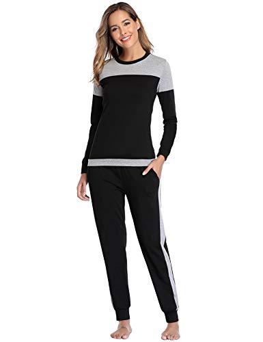 Aibrou Damen Patchwork Lange Zweiteilige Schlafanzug, Rundhals Pyjama Set Langarm Shirt und Hose Schwarz M
