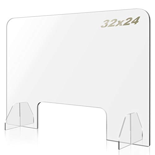 Affenlaskan Sneeze Guard for Counter and Desk, 32'Wx24'H Plexiglass Shield for Desk Plexiglass Barrier for Counter, Personal Protection Acrylic Shield for Business and Customer with Transaction Window