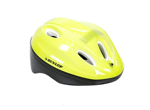 Dunlop! Kinderfahrradhelm gelb, Größen von 48-54 cm, universell anpassbar durch 18 Schaumstoff-Pads in diversen Stärken (Gelb)
