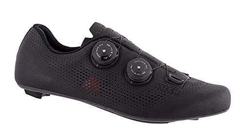 LUCK Perseo | Zapatillas Ciclismo Carretera para Hombre y Mujer | Suela de Carbono | Doble Cierre Rotativo | Zapatillas para Bicicleta de Carretera (41, Negro)