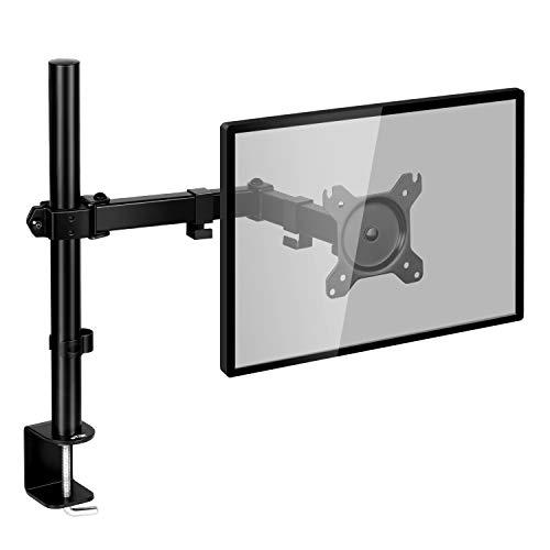 SIMBR Soporte Monitor con Brazo Simple para PC y Pantalla LCD LED de 13 -27  para Mesa y Escritorio con VESA 75x75mm y 100x100mm Carga Máxima de 8kg (17.6lbs) y Altura Ajustable