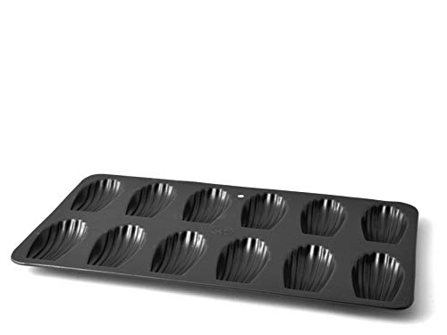 Vespa Madeleine Backform 12Mulden mit Antihaftbeschichtung, Aluminium, schwarz, 36x 19.5x 1.5cm