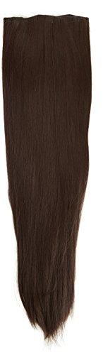 BiYa Hair Elements Thermat haarverlenging met haarklem, glad, donkerbruin nr. 4 22/140 g