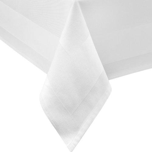 DecoHometextil Nappe de table rectangulaire ronde avec bord en Atlas Blanc Taille au choix 100 x 100 cm