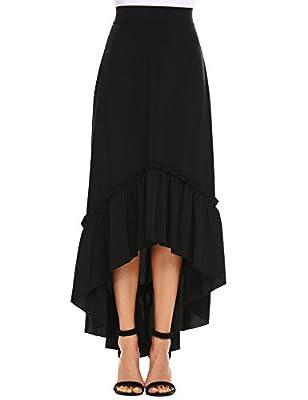 Zeagoo Women's Burgundy/Black Bowknot High Waist Hi-lo Party Skater Skirt