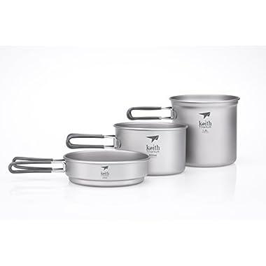 Keith Titanium Ti6014 3-Piece Pot and Pan Cook Set - 2.4 L (Limited Time Promotion Price)