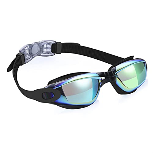SRXSMGS Gafas natación Gafas Deportivas para Hombres y Mujeres Anti-Niebla UV Silicona Gafas de natación con Nariz y Tapones para los oídos (Color : Negro)