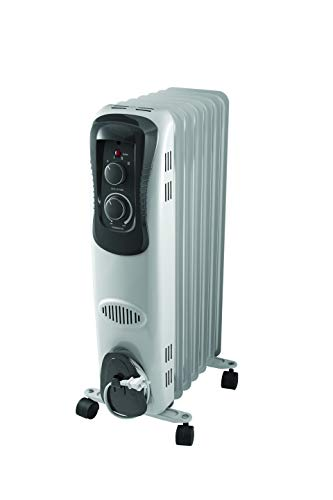 Pelonis PH-17LA Basic Electric Oil Filled Radiator, 1500W Portable Full Room Radiant Space Heater with Adjustable Thermostat, White Heater Oil Space