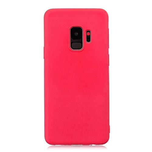 cuzz Custodia Samsung Galaxy S9+ Plus+{Film di Vetro temperato}Silicone TPU Cover Morbida Protettiva Custodia Ultra Sottile Leggero Cover-Rosso