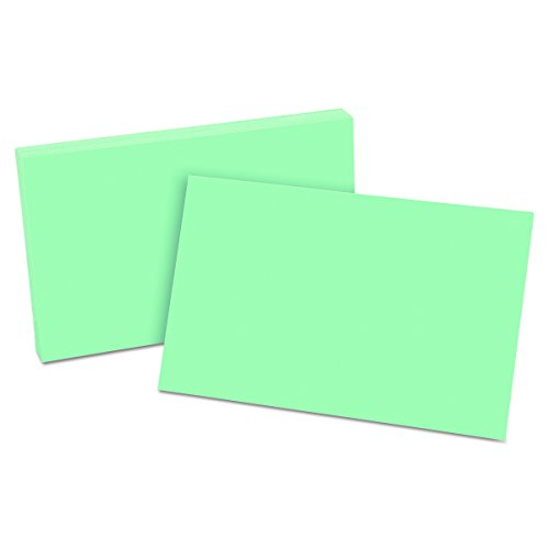 "Oxford Blank Color Index Cards, 5"" x 8"", Green, 100 Per Pack (7520 GRE)"