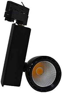 Vision-EL 78290 Spot LED sur Rail avec Adaptateur 3 allumages Noir 35W 3000°K, Aluminium/Verre + PC, 40 W, Ø 99 mm