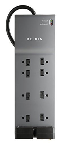 Belkin 8-Outlet Power Strip Surge Protector w/Flat Plug, 6ft Cord – Ideal for Computers, Home Theatre, Appliances, Office Equipment (3,550 Joules)