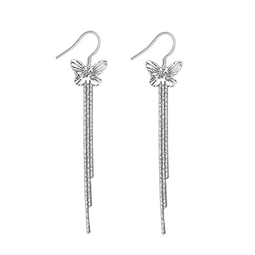 SJHFG Pendientes largos con borla de mariposa, cadena de geometría, colgante de orejas, joyería de regalo de cumpleaños para mujeres