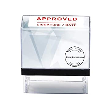 StampExpression - Approved Signature and Date with Line Office Self Inking Rubber Stamp - Red Ink  A-5870
