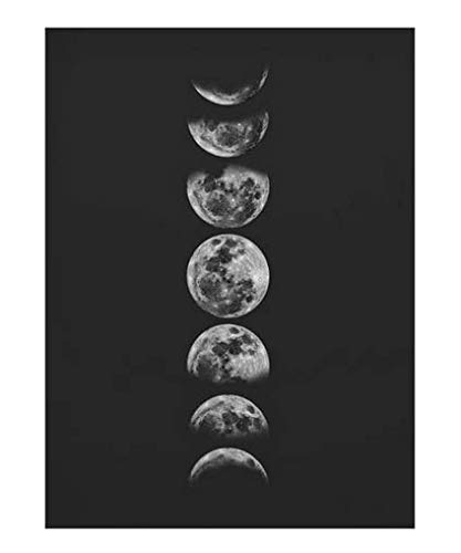 MZCYL Puzzle 1000 Pezzi Immagine di Montaggio Minimalista Luna Piena Arte Nero Bianco Fasi Lunari Sistema Solare per Adulti Giochi per Bambini Giocattoli Educativi MA0127