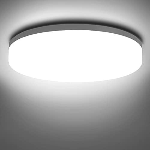 NIXIUKOL Deckenlampe 18W, LED Deckenleuchte 4500K Neutralweiß, IP54 Wasserfest Badlampe Schlafzimmerlampe Wohnzimmerlampe 1800LM ideal für Badezimmer Balkon Flur Küche 22cm
