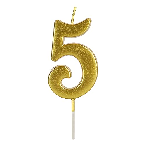 LHGOGO Gold Birthday Candles for Cake, Premium Glitter 5th Number Candle Party Wedding Anniversary Decoration for Kids Women or Men, Number 5