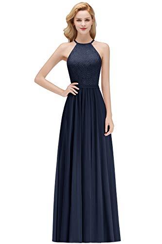 MisShow Abendkleider Ärmellos Vintage Spitzenkleid Hochzeit Chiffon Faltenrock Langes Kleid Navy 36