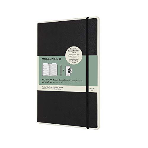 Moleskine Smart Wochen-Notizkalender 2020 Digitaler Kalender (geeignet für die Verwendung mit Moleskine Pen+,12 Monate, Large 13 x 21 cm) schwarz