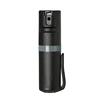 POM Pepper Spray Black Flip Top Pocket Clip - Maximum Strength OC Spray - Self Defense - Tactical Compact & Safe Design - 25 Bursts & 10 ft Range - Powerful & Accurate Stream Pattern