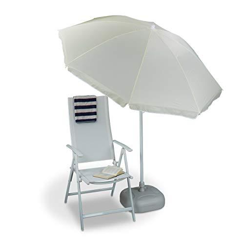 Relaxdays Sonnenschirm 180 cm Spannweite, 8 Rippen Polyester, Neigefunktion, Gartenschirm höhenverstellbar, hellgelb