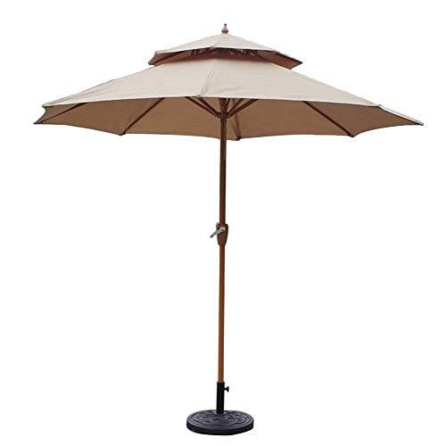 DFBGL 270 cm doppelter Garten-Sonnenschirm mit Kurbelgriff, Sonnenschutz, wasserdichter Schutz für Terrasse, Balkon, Pool, Strand (Farbe: Khaki)