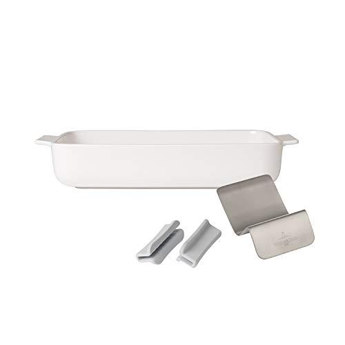 Villeroy & Boch Pasta Passion Set 4 Piezas,Plato de lasaña + Accessorios, Porcelana, Premium, Blanco
