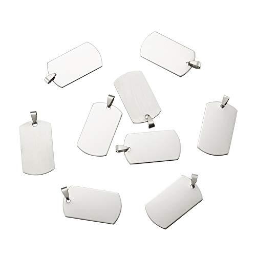 Cheriswelry 50 colgantes rectangulares de acero inoxidable con estampado en blanco para...