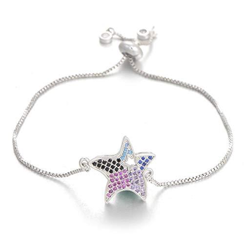 chushi Zircon Hollow Star Charm Bracelet Pulsera De Cadena Ajustable For Mujer Joyería De Mujer Zzib (Color : Silver)