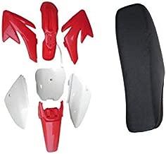 New Plastic Fender Fairing Kit (4 Red+ 3 White) & Tall Seat For Honda CRF70 Dirt Pit Bike Motorcycle
